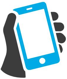 Infografía de una mano sujetando un smartphone